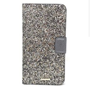 NWT Kate Spade Glitter Wrap Folio Case -iphone8+